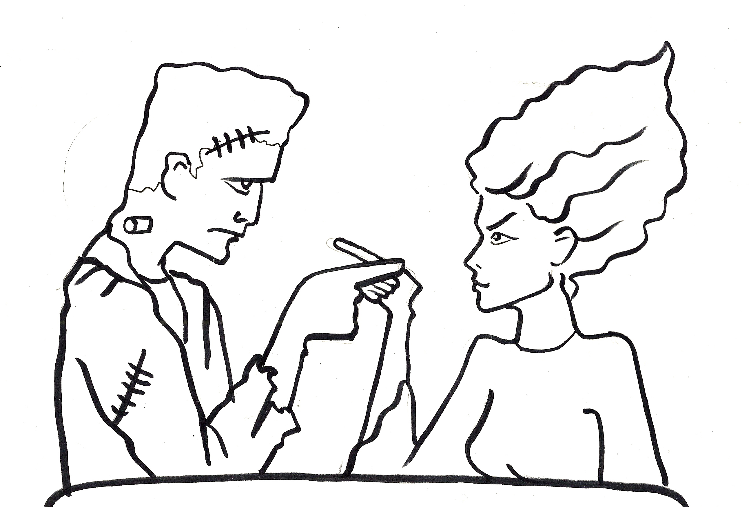 bride of frankenstein colouring pages page 3