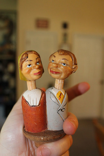 Wooden Couple Not Kissing