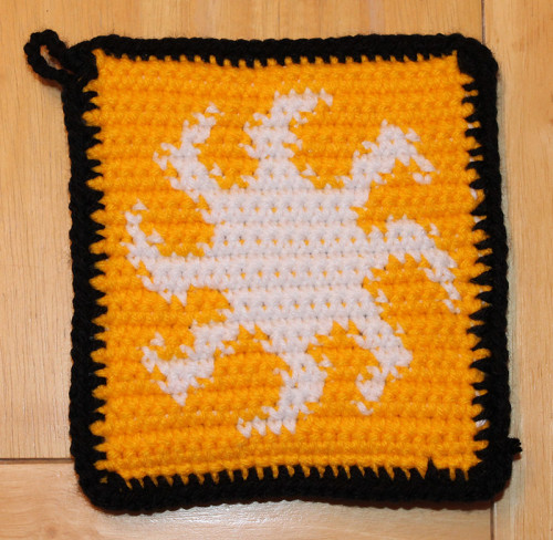 Crochet Saturday: MTG White Mana (Plains) Potholder